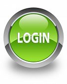 Login icon on glossy green round button poster