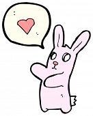funny zombie bunny rabbit character in love poster
