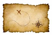 Pirates treasure map with marked location poster