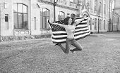 Patriotic citizen. Vacation and travel. Independence day. National holiday. Girl cheerful jumping. 4th of July. American tradition. American patriotic people. American woman USA flag outdoors. poster