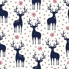 Winter Holidays Vector Seamless Pattern, Black Hand-drawn Deer And Snowflakes On White Background. C