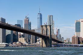 New York, United States - September 22, 2019: View Of Famous Brooklyn Bridge Towards Lower Manhattan