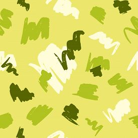 Seamless Geometric Pattern With Abstract Brush Strokes On Yellow Background.