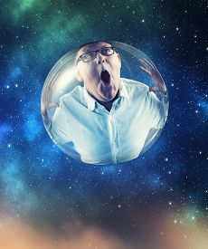 Kid In A Bubble Flying In Space.
