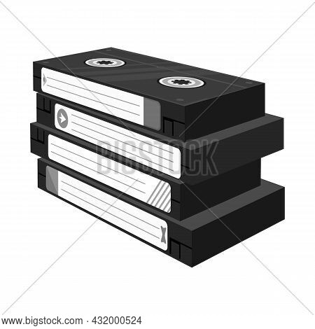 Isolated Object Of Cassette And Videotape Logo. Web Element Of Cassette And Stack Stock Vector Illus