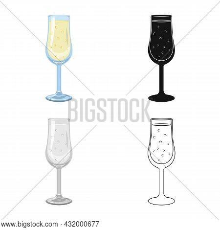 Vector Design Of Champagne And Glass Sign. Collection Of Champagne And Transparent Vector Icon For S