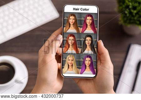Female Hands Using Hair Color Simulation App On Mobile Phone