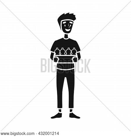 Isolated Object Of Trash And Guy Symbol. Web Element Of Trash And Rubbish Vector Icon For Stock.