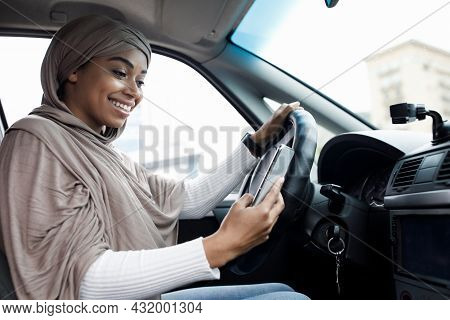 Driver Behind Steering Wheel And Device With Map For Traveling In Transport In City