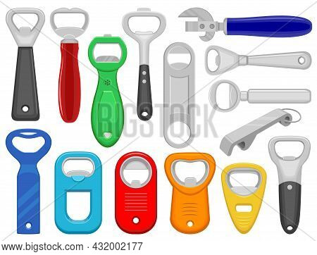 Bottle Opener Vector Cartoon Icon Set . Collection Vector Illustration Tool For Open On White Backgr