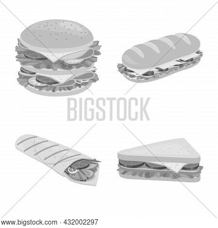 Vector Design Of Snack And Fresh Icon. Set Of Snack And Dinner Stock Symbol For Web.