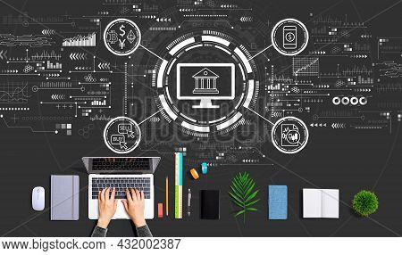 Fintech Theme With Person Using A Laptop Computer