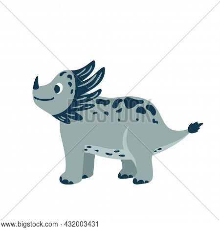 Cute Baby Dinosaur Triceratops Isolated On White Background. Kid Character Dino Monster For Cool Nur