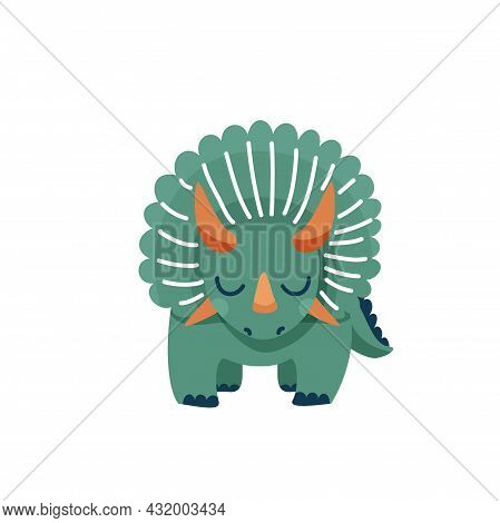 Cute Baby Dinosaur Triceratops Isolated On White Background. Front View. Kid Character Dino Monster