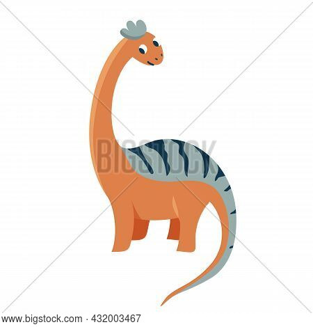 Cute Baby Flirt Dinosaur Diplodocus Isolated On White Background. Kid Character Dino Monster For Coo