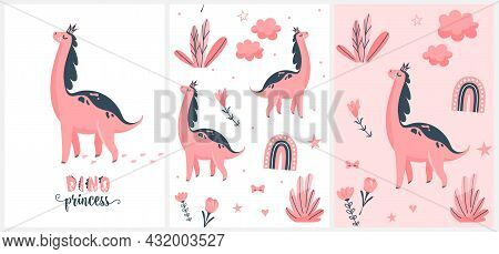 Cute Pink Dino Vector Illustration Set. Little Dinosaur, Her Footprint With Sweet Princess Text Isol