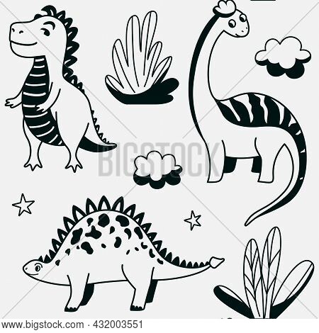 Cute Dinosaurs Seamless Vector Pattern With Outline Graphic Dino, Leaves, Cloud, Star On Grey Backgr