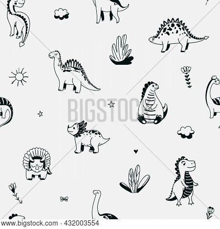 Cute Dinosaurs Seamless Vector Pattern With Outline Graphic Dino, Leaves, Cloud, Flower, Star On Gre