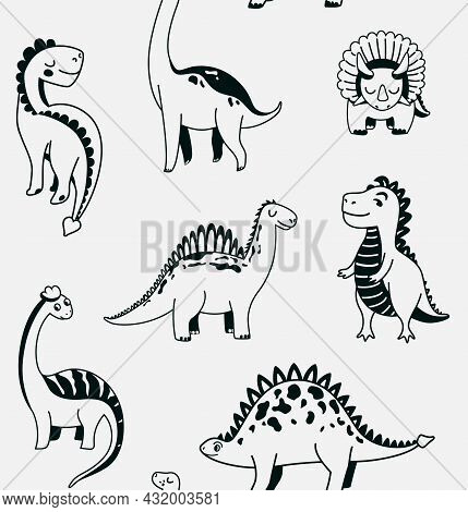 Cute Dinosaurs Seamless Vector Pattern With Black Outline Graphic Dino On Light Grey Background. Coo