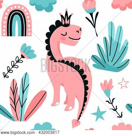 Cute Pink Dino Princess Seamless Vector Pattern With Rainbow, Star, Floral, Flower, Leaves. Cool Kid