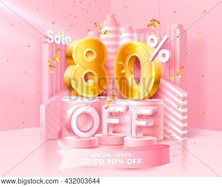 80 Off. Discount Creative Composition. 3d Sale Symbol With Decorative Objects, Golden Confetti, Podi