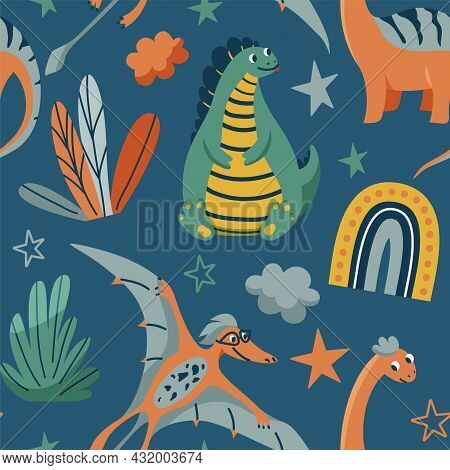 Cute Dinosaurs Seamless Vector Pattern With Bright Color Dino, Leaves, Cloud, Rainbow, Star On Dark