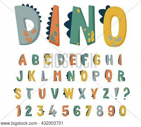 Dinosaur Alphabet Vector Set With Cute Hand Drawn Letters And Numbers In Bright Colors With Texture