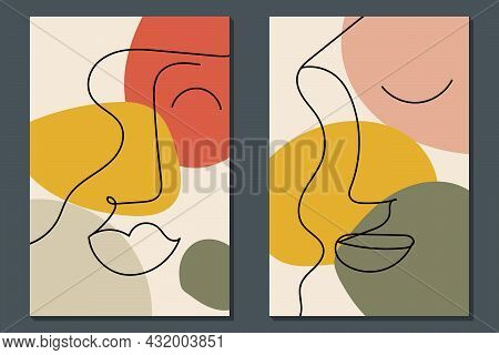 Modern Face Line Art. Minimal Shapes And Lines. Home Decor Design. Hand Drawn Watercolor Effect Pain