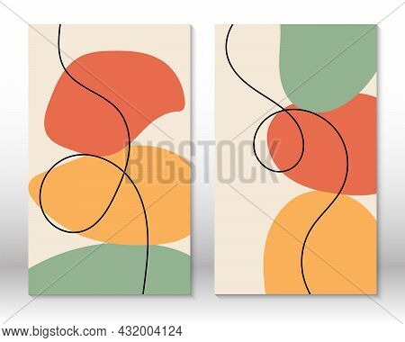 Modern Abstract Painting. Set Of Fluid Geometric Shapes. Abstract Hand Drawn Watercolor Effect Shape