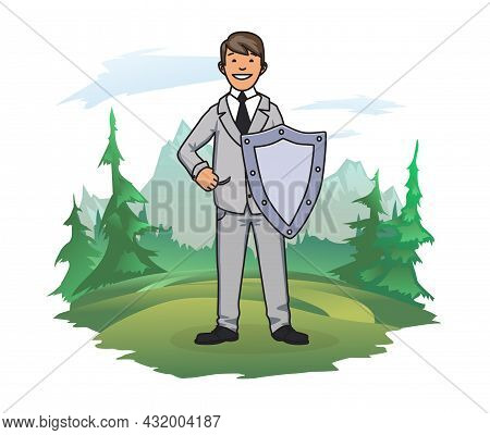 A Man With A Shield On The Background Of A Forest And A Mountain Landscape. Social And Environmental