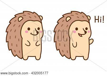 Cute Cartoon Hedgehog Character Drawing. Funny Kawaii Hedgehog Waving And Saying Hi. Vector Clip Art
