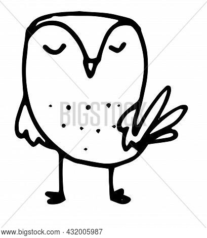 Vector Owl. Isolated Contour Drawing Of A Bird, Stylized With Closed Eyes.funny Owl Isolated Black O