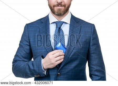 He Chooses This. Cropped Boss In Businesslike Suit Isolated On White. Male Accessory.