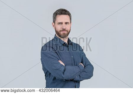You Can Always Be Confident. Confident Man Keep Arms Crossed Grey Background. Casual Style