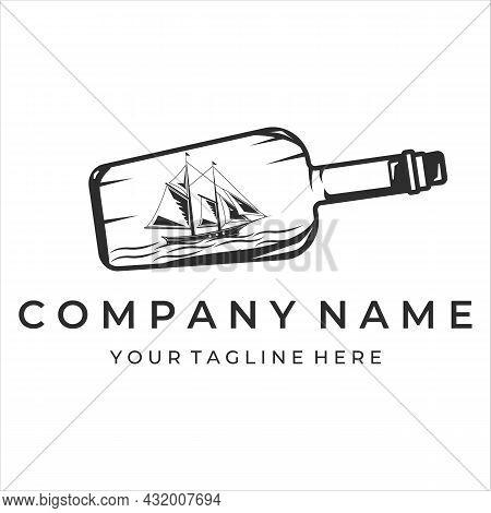 Ship With Bottle Logo Vintage Vector Illustration Template Design. Sailboat Inside Bottle Miniature