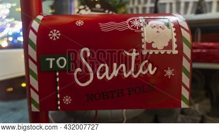 Red Mailbox For Christmas Letters. Santa Mail. Christmas Decorated Mailbox For Letters To Santa Clau