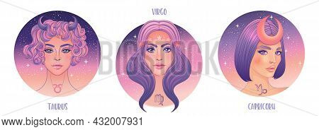 Zodiac Girls Set: Earth. Vector Illustration Of Taurus, Capricorn And Virgo Astrological Signs As A
