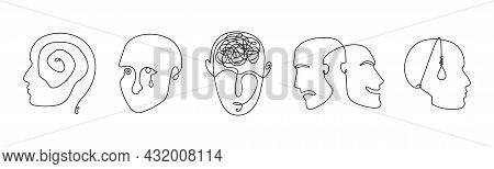 Continuous Line Drawing Mental Disorder Vector Icons, Abstract Concepts Of Various Psychic Health Pr