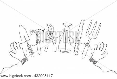 A Continuous Line Drawing Of Garden Instruments, A Set Of Various Gardening Hand Tools With Gloves I