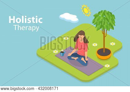 3d Isometric Flat Vector Conceptual Illustration Of Holistic Therapy, Alternative Medicine For Welln