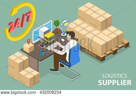 3d Isometric Flat Vector Conceptual Illustration Of Logistics Supplier, Global Logistic Distribution