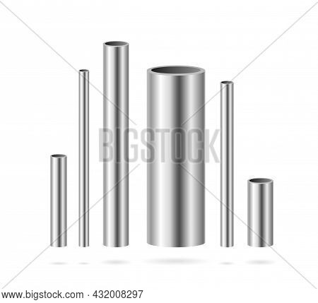 Realistic Detailed 3d Vertical Steel Or Metal Pipes Different Shapes Set. Vector Illustration Of Iro