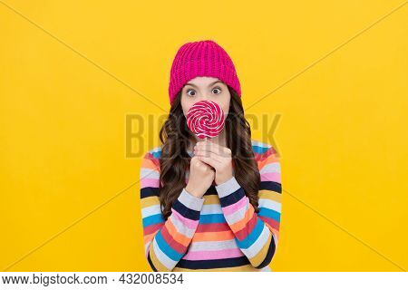 Sweet Tooth. Yummy. Surprised Teen Girl Hold Lollipop. Lollipop Lady. Kid With Colorful Lollypop