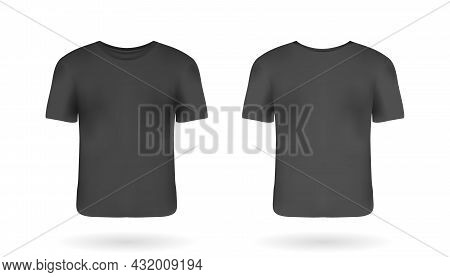 Realistic Man T-shirt Mockup With Front And Back Views. Black T-shirt With Short Sleeves. Casual Clo