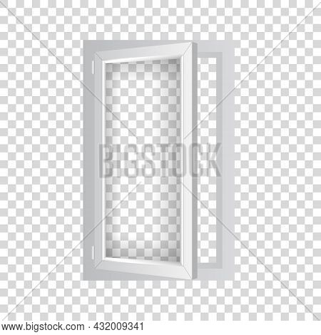 Pvc Single Window With Half Open Casement. Realistic Plastic Window Mockup Template. White Windowpan