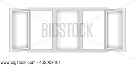 Realistic Plastic Window Mockup Template. Triple Plastic Window With Open Casements. Windowpane Fram