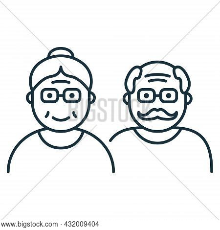 Couple Of Old Senior Person Line Icon. Happy Elder Grandparents Linear Pictogram. Old Grandfather An
