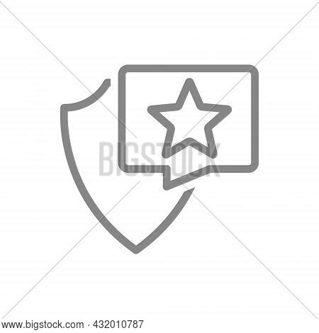 Protective Shield With Star In Buble Speech Line Icon. Security Sign, Star Rating, Positive Assessme