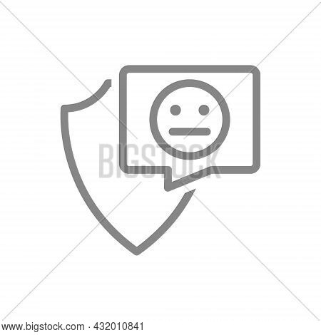 Protective Shield With Neutral Face In Buble Speech Line Icon. Protection, Emoji Rating, Feedback, N