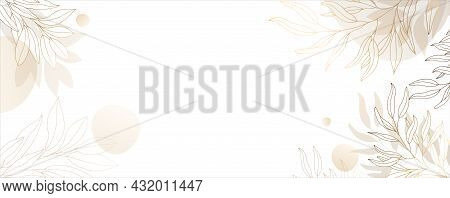 Luxurious Golden Wallpaper. White Background And Spots Of Pastel Watercolor. Golden Leaves With A Sh